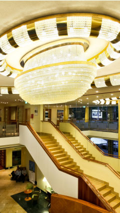 Luxurious Philips ceiling lighting at the Radisson Blu Centrum in Warsaw, Poland
