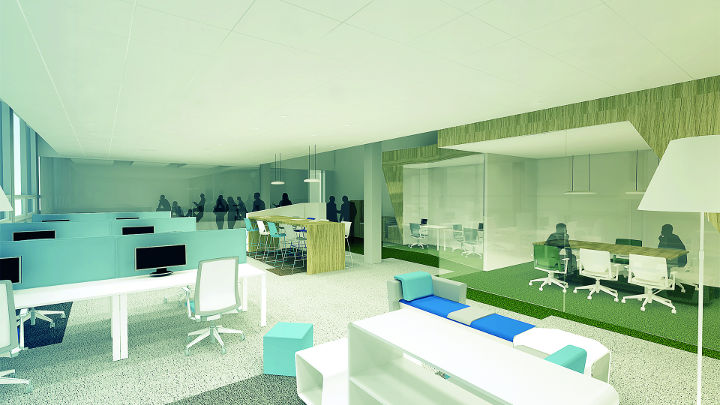 Visualisation showing the range of spaces within the office.