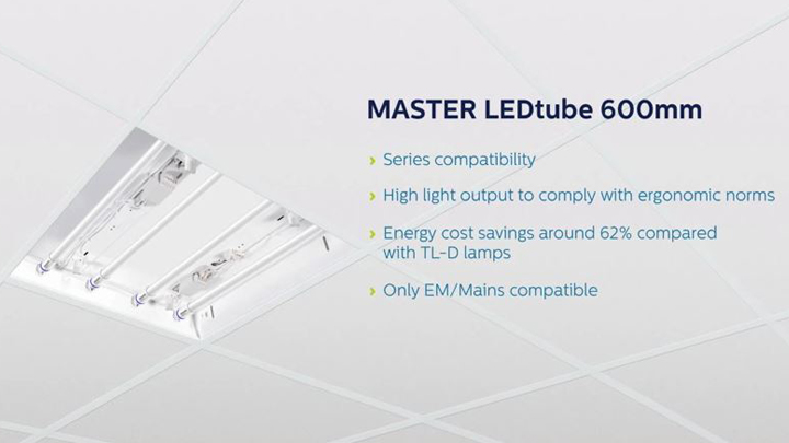 Master Led tube 600mm provides high light output and reduces energy cost