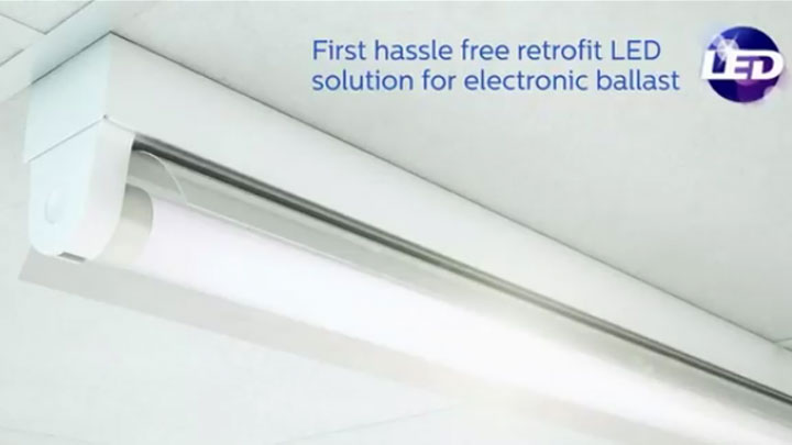 Led tube - First hassle free retrofit LED solution for electronic ballast - video